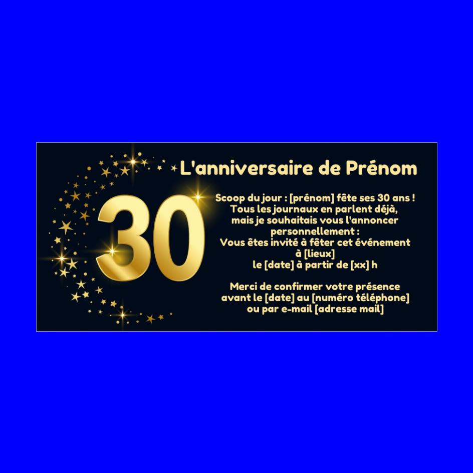 Ultra Invitation Anniversaire 30 Ans Doree Etoile gratuit à imprimer OO-58