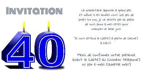 Invitation Anniversaire 40 Ans Bougie Bleu Gratuit A Imprimer Carte 3432
