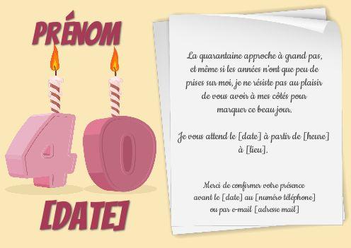 Invitation Anniversaire 40 Ans Bougie Dessin Gratuit A Imprimer Carte 3468