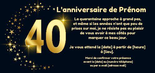 Invitation Anniversaire 40 Ans Doree Etoile Gratuit A Imprimer Carte 3456