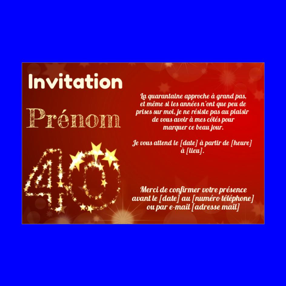 Invitation Anniversaire 40 Ans Doree Rouge Gratuit A Imprimer Carte 3434