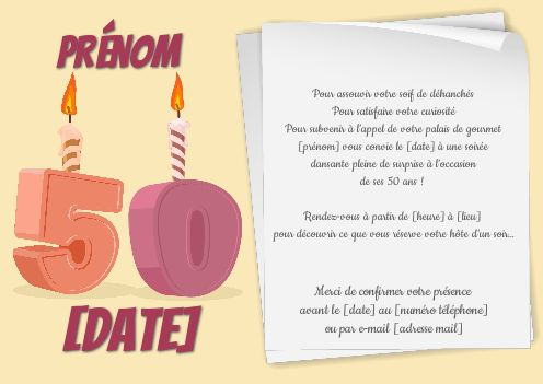 Invitation Anniversaire 50 Ans Bougie Dessin Gratuit A Imprimer Carte 3470