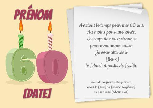 Invitation Anniversaire 60 Ans Bougie Dessin Gratuit A Imprimer Carte 3472