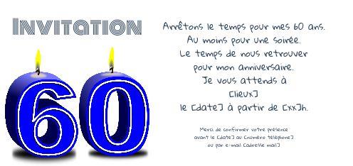 Invitation Anniversaire 60 Ans Bougie Bleu Gratuit A Imprimer Carte 3442