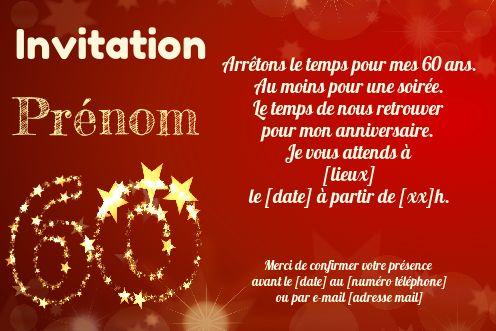 Invitation Anniversaire 60 Ans Doree Rouge Gratuit A Imprimer Carte 3441