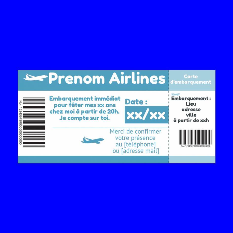 Carte Invitation Anniversaire Billet Avion Bleu Gratuit A Imprimer Carte 3105