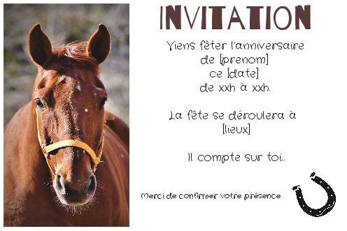 carte invitation anniversaire cheval Carte Invitation Anniversaire Cheval Enfant Marron gratuit à
