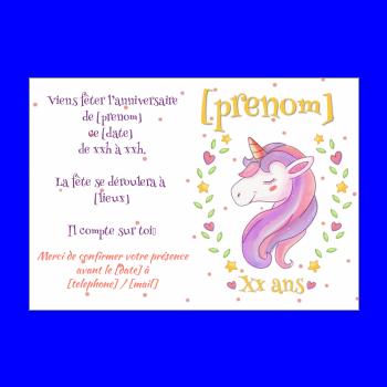 Carte Invitation Anniversaire Licorne Coeur Enfant Gratuit A Imprimer Carte 3487