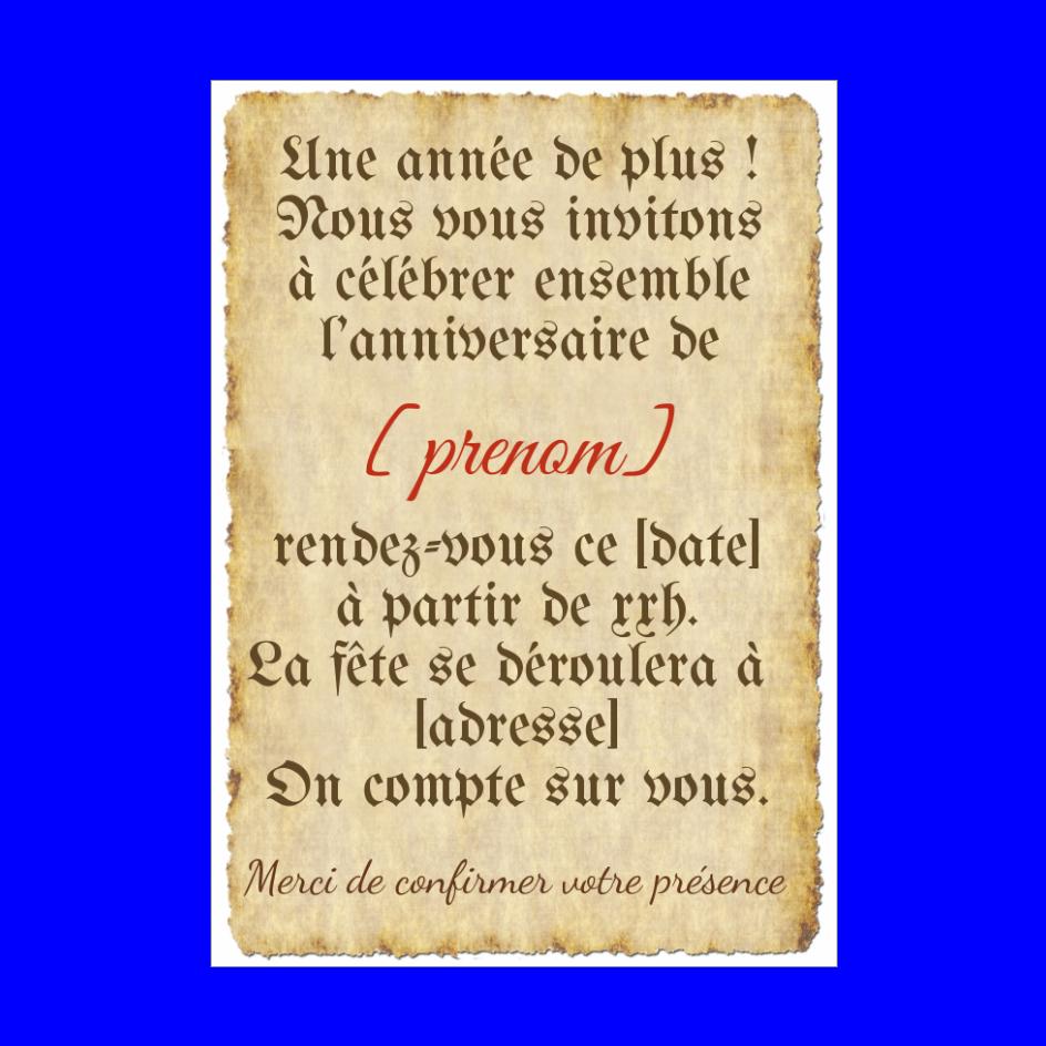 Carte Invitation Anniversaire Lettre Parchemin Gratuit A Imprimer Carte 2829
