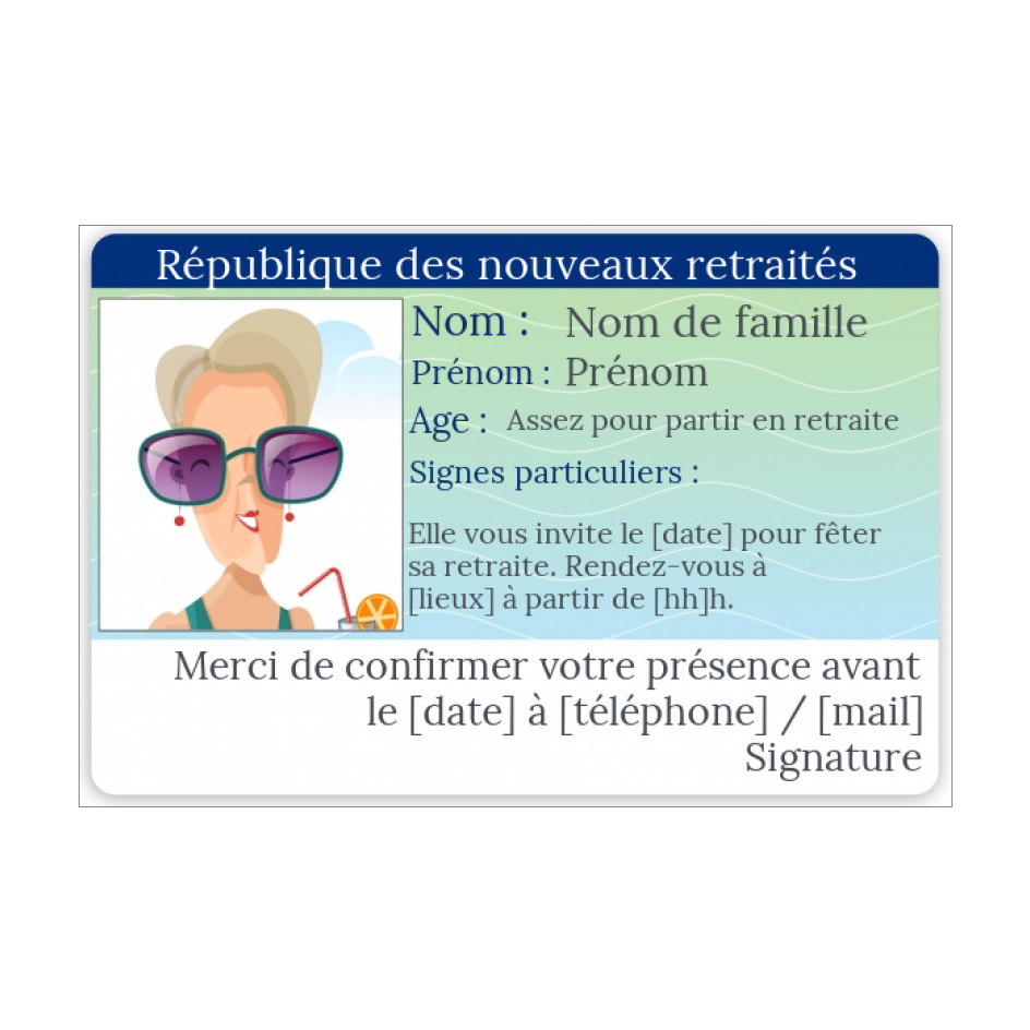 Carte Invitation Retraite Carte Identite Humour Gratuit A Imprimer Carte 3263