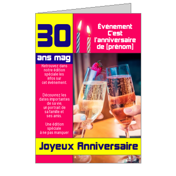 carte anniversaire joyeux magazine journal