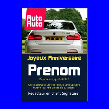 carte anniversaire joyeux magazine journal voiture bleu blanc