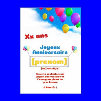 carte anniversaire joyeux enfant ballon blanc