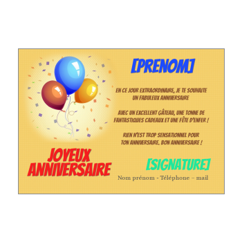 carte anniversaire joyeux ballon bleu orange