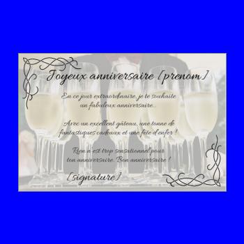 carte anniversaire joyeux champagne alcool