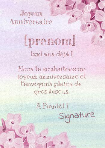 Carte Anniversaire Joyeux Enfant Rose Fille Gratuit A Imprimer