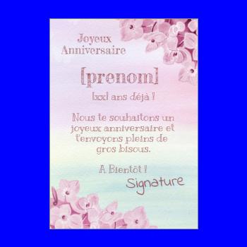 carte anniversaire joyeux enfant rose fille