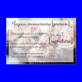 carte anniversaire joyeux gateau marron