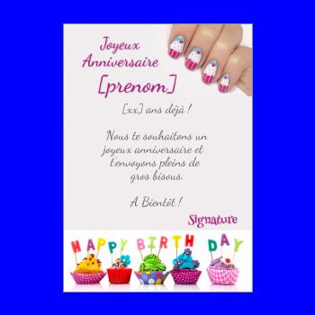 carte anniversaire joyeux enfant gateau rose fille mauve