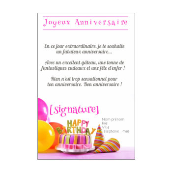 carte anniversaire joyeux gateau rose ballon
