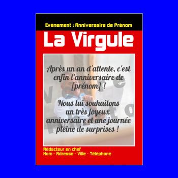 carte anniversaire joyeux magazine journal rouge noir