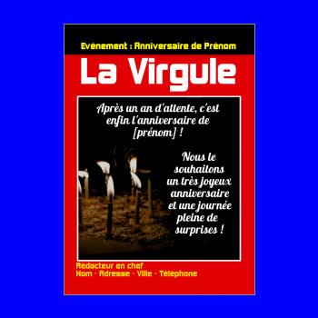 carte anniversaire joyeux magazine journal gateau rouge noir