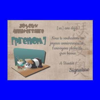carte anniversaire joyeux enfant panda animaux