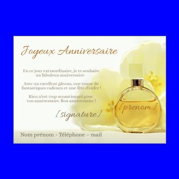 carte anniversaire joyeux parfum jaune femme