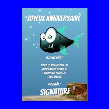 carte anniversaire joyeux enfant bleu poisson dessin animaux