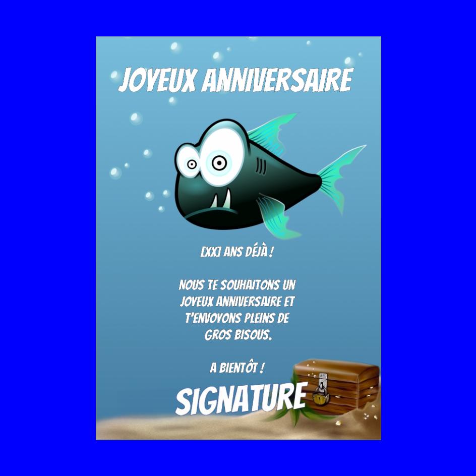 Carte Joyeux Anniversaire Enfant Bleu Poisson Gratuit A Imprimer Carte 205