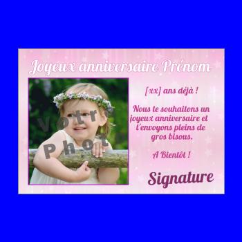 carte anniversaire joyeux princesse enfant rose fille