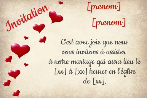 Invitation Faire Part Mariage Coeur Lettre Gratuit A Imprimer Carte 363