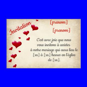 invitation faire part mariage coeur lettre rouge marron
