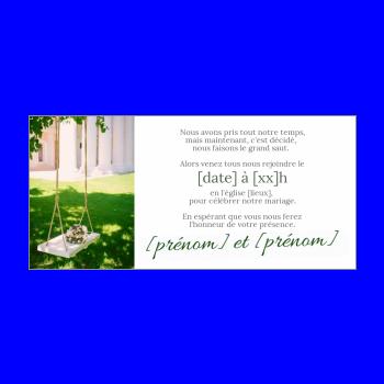 invitation faire part mariage jardin vert blanc