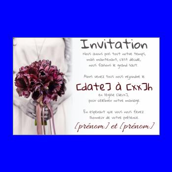 invitation faire part mariage fleur rouge