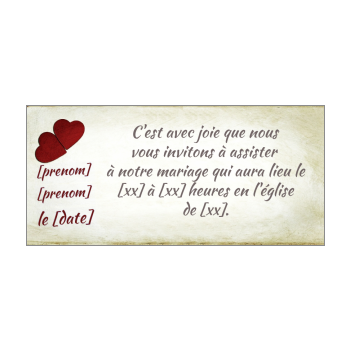 invitation faire part mariage coeur rouge marron