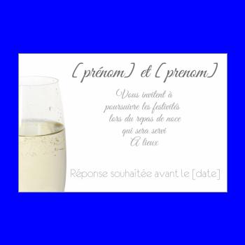 carte invitation mariage repas champagne blanc alcool
