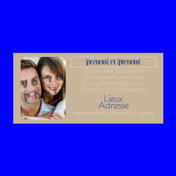 carte invitation mariage repas marron