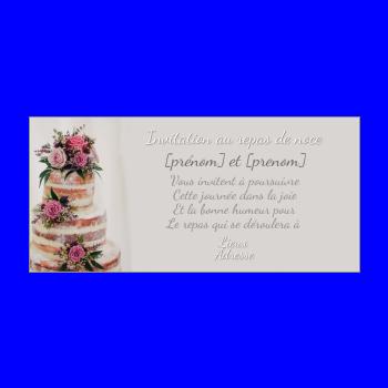 carte invitation mariage repas gateau gris