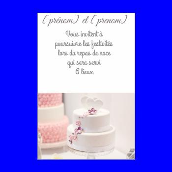 carte invitation mariage repas gateau blanc