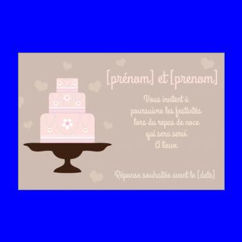 carte invitation mariage repas gateau rose marron
