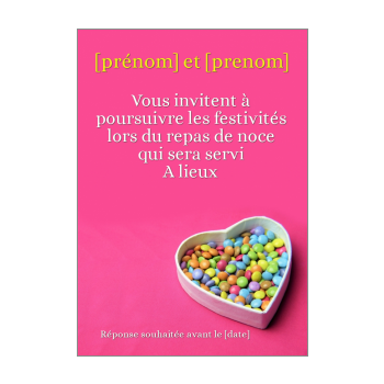 carte invitation mariage repas coeur bonbon rose