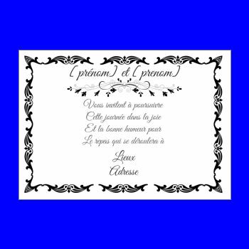 Carte dinvitation au repas de mariage imprimer gratuit carte invitation mariage repas noir blanc stopboris Gallery