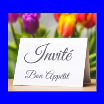 etiquette carton marque place fleur table