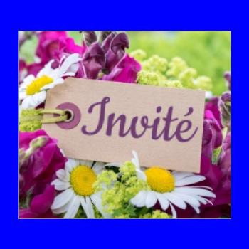 etiquette marque place fleur table mauve