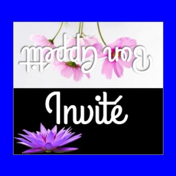 etiquette marque place fleur table mauve noir