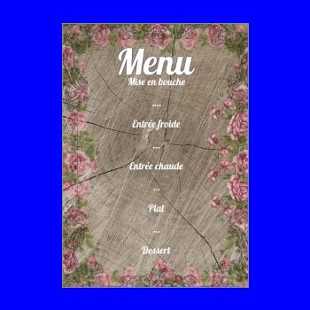 menu bapteme fleur rose bois marron