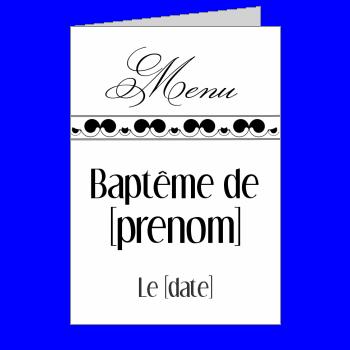 menu bapteme noir blanc