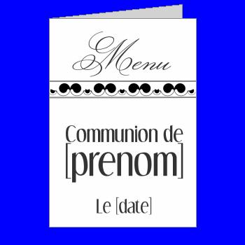 Menu De Communion A Imprimer