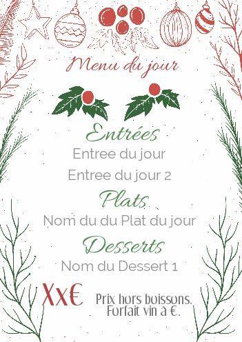 Carte Menu Restaurant Noel Vert Rouge Gratuit à Imprimer